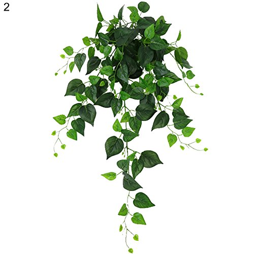 angel3292 Clearance Deals!!Artificial Plant,1Pc 110cm Hanging Artificial Fake Ivy Green Leaves Vine Wedding Party Home Decor 2#