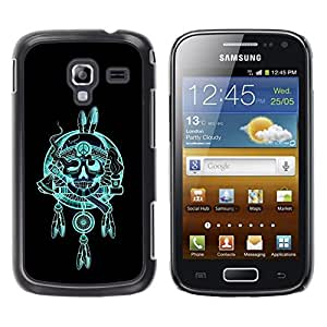 Be Good Phone Accessory // Dura Cáscara cubierta Protectora Caso Carcasa Funda de Protección para Samsung Galaxy Ace 2 I8160 Ace II X S7560M // Indian Chief Feathers Hatchet Skull
