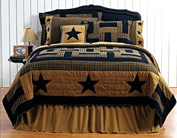 Amazon.com: Delaware Star Quilt King Patchwork Stars Black Tan ... : country star quilts - Adamdwight.com