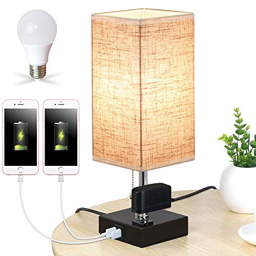 Lifeholder Table Lamp, Nightstand Lamp Built in Dual USB Charging Port & One Power Outlet, Black Iron Base USB Lamp with Warm White LED Bulb, Modern USB Table Lamp Perfect for Bedroom, Office(Square)