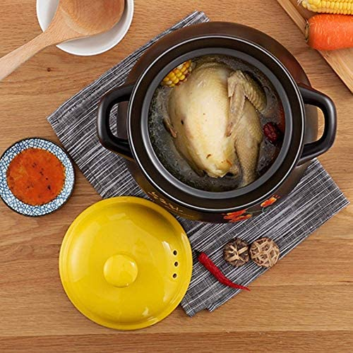 LEILEI Soup Pot Printing Pattern Ceramic Round Casserole/Soup Pot/Earth Pot/Ceramic Cookware Heat-Resistant Gift Box -with a Yellow Cover