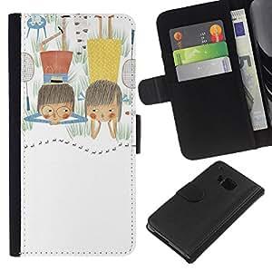 KLONGSHOP // Tirón de la caja Cartera de cuero con ranuras para tarjetas - Hand Drawn Art Dibujo Kid Madre - HTC One M7 //