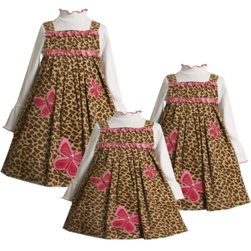 Bonnie Jean Baby/INFANT 12M-24M 2-Piece BROWN PINK SEQUIN BUTTERFLY LEOPARD PRINT CORDUROY JUMPER Girl Dress Outfit/Set