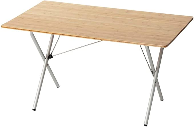 Lifetime Product Guarantee Designed in Japan Bamboo Table Snow Peak Single Action Table Medium LV-010TR for Camping and Backyard Use