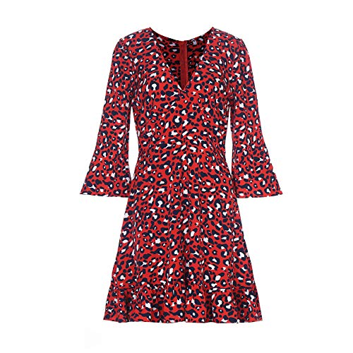 Women Sexy Leopard Print 3/4 Sleeve V Neck Knee Dress Knee Dress(Medium, Red)