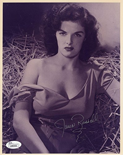 JANE RUSSELL HAND SIGNED 8x10 PHOTO SEXY POSE FROM THE OUTLAW - JSA Certified