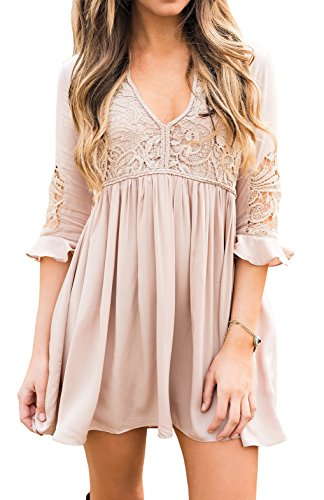 Imysty Womens Dress Ruffles Lace Up Bell Sleeve Sexy V-Neck Party Mini Dresses
