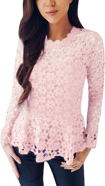 ORANDESIGNE Moda Camisa de Manga Larga para Mujer Blusa de Encaje Casual Algodón Suelto Tops Camiseta Sexy Hollow out Camisetas de Encaje Floral Basic Blusa Rosa ES 40: Amazon.es: Ropa y accesorios