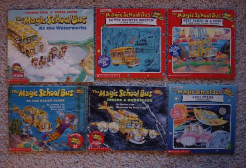 Magic School Bus Set of 6 Picture Books (The Magic School Bus Gets Baked in a Cake (Chemistry) ~ In the Haunted Museum (Sound) ~ Sees Stars ~ Inside a Hurricane ~ On the Ocean Floor ~ At the Waterworks)