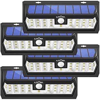 Litom Solar Lights Outdoor 30 LED, Adjustable Lighting Time Solar Motion Sensor Light with Wide Angle and Waterproof Design, Wireless Solar Lighting for Garden Yard Patio 4 Pack