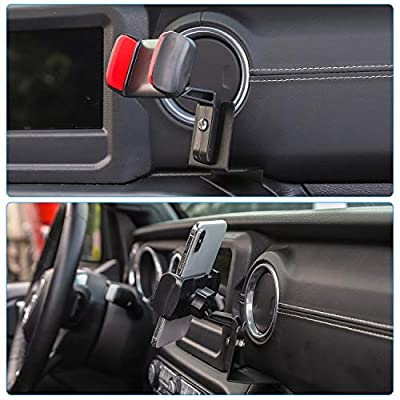 JeCar Multi-Functional Phone Holder, Radio Holder Walkie Talkie Mount Bracket for Jeep Wrangler, 2 in 1 Bolt-on Stand Bracket for 2020-2020 Jeep Wrangler JL JLU & 2020 Jeep Gladiator JT, Red: Automotive