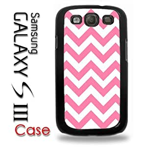 Samsung Galaxy S3 Plastic Case - Pink and White Chevron Pattern hjbrhga1544