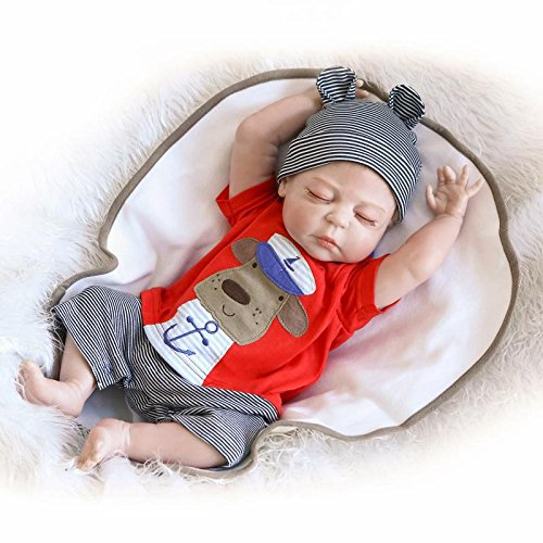 NPKDOLLS Reborn Baby Doll Realistic Baby Dolls Vinyl Silicone Babies 22inch 55cm Doll Newborn Real Baby Doll Free Pacifier Magnetic Lovely Lifelike Cute Baby Red Cute Sleeping Doll