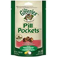FELINE GREENIES PILL POCKETS Cat Treats, Salmon, 45 Treats, 1.6 oz. With Natural Ingredients Plus Vitamins, Minerals, And Other Nutrients