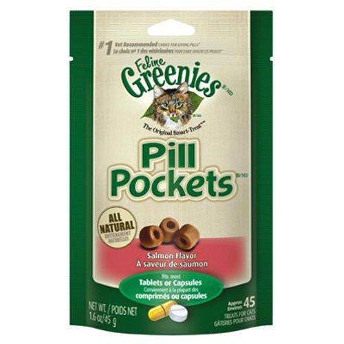 FELINE GREENIES PILL POCKETS Natural Cat Treats Salmon Flavor, 1.6 oz. Pack (45 Treats)]()