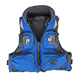 Adult Adjustable Buoyancy Aid Swimming Boating Sailing Fishing Kayak Life Jacket Vest Preservers (Blue, L)