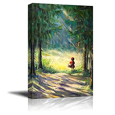 Canvas Prints Wall Art - Little Red Riding Hood Walking in The Forest/Woods Fairy Tale in Oil Painting Style- 24