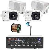 Pyle WiFi Bluetooth Stereo Amplifier 240-Watt Home Theatre Receiver, 4X 3.5 200 Watt 3-Way Weatherproof Mini Box Speakers (White), Enrock Audio Spool of 50 Foot 16-Gauge Speaker Wire (4 Speakers)