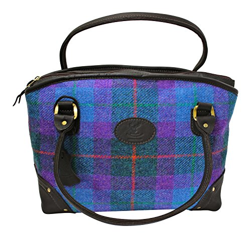 Wild Scottish Deerskin Designer Leather Purple and Blue Tartan Check Harris Tweed Large Sophie Tote Bag