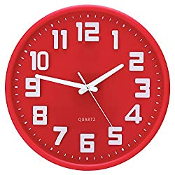 Egundo Non-Ticking Wall Clock 3D Digital Plastic Elegant Red 12 Inches Silent clocks Decorative Quartz Movement Battery Operated for Kitchen Bedrooms Living Room Office
