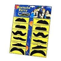 Katara 1622 - Set de 12 Fausses Moustaches Auto-Adhésives - Déguisement pour Carnaval, Halloween - Adultes / Enfants