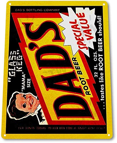 (Wadec TIN Sign B662 Dads Root Beer Soda Cola Kitchen Cottage Bar Retro Label Metal)