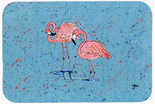 Caroline's Treasures Pink Flamingos on Blue Speckle Glass Cutting Board, Large, Multicolor