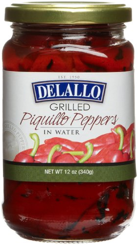 DeLallo Grilled Piquillo Peppers, 12-Ounce Jars (Pack of 12)
