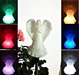 Beautiful Solar Ivory Cream Praying Angel Light Lamp, Multi-color Change Garden Stake Outdoor Yard Landscaping Decor LED Lamp Lights , or Indoor Home Decoration , Great Gift