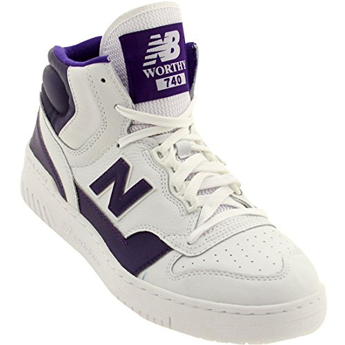 New Balance Men's Worthy 740 White with Purple Basketball Shoe 8.5 Men US