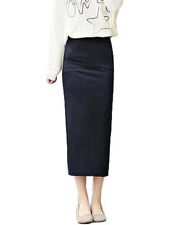 5724a7351b704 Femmes Professionnelle Jupe longue Moulante Bodycon Crayon au Genou à Taille  Haute S Noir