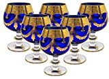 Interglass - Italy, Cobalt Blue Crystal Cognac Snifters Goblets, Vintage Design, 24K Gold Hand Decorated, 10 Oz, SET OF 6