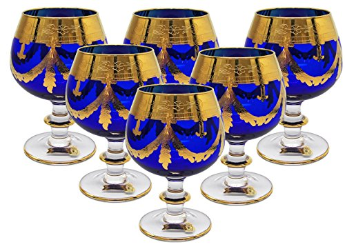 Interglass - Italy, Cobalt Blue Crystal Cognac Snifters Goblets, Vintage Design, 24K Gold Hand Decorated, 10 Oz, SET OF 6 by Interglass