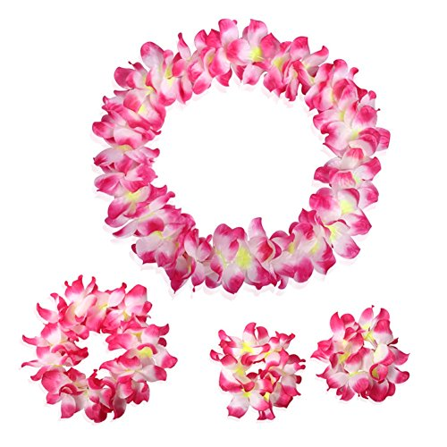 CISMARK Hawaiian Luau Flower Leis Jumbo Necklace Bracelets Headband Set Rose