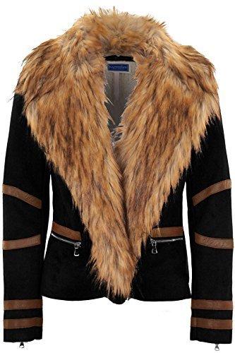 Mujer Cuello Sintética Corta Motero Abrigo Pvc Interno By Piel De Forro Rayas Sapphire Negro Zafiro Lana Boutique UOc6gx1qnt