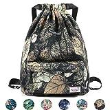 WANDF Drawstring Backpack String Bag Sackpack Cinch Water Resistant Nylon for Gym Shopping Sport Yoga (Yellow Leaf 6032)
