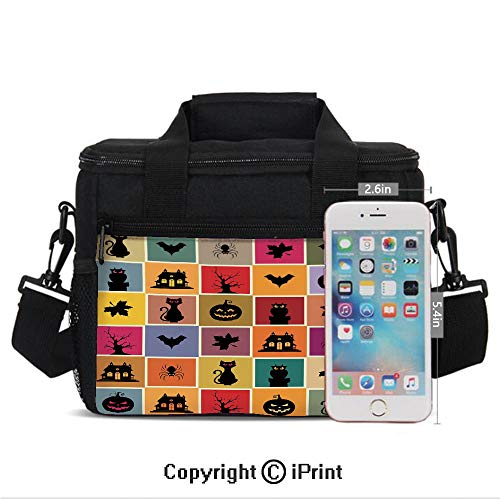 (Insulated Lunch Bag Box for Men and Women, Bats Cats Owls Haunted Houses in Squraes Halloween Themed Darwing Art Decorative converts to a Tote Handbag - Easy to Clean Polyester)
