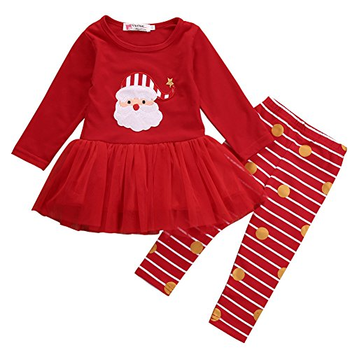 Xmas Outfit for Girls Babys Santa Claus Tutu Dress with Striped Pant Clothing Set (0-6 Months, ()