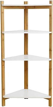 4-Tier Corner Bookshelf Solid Wood Partition Storage Rack Simple Bamboo Shelf US