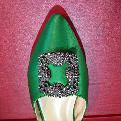 Slipper Talons Caitlin Escarpins Satin Pan Aiguille nude Femmes Green Robe Diamants Bout Insole Pointu Hauts Chaussures Classique Talon de qagCq