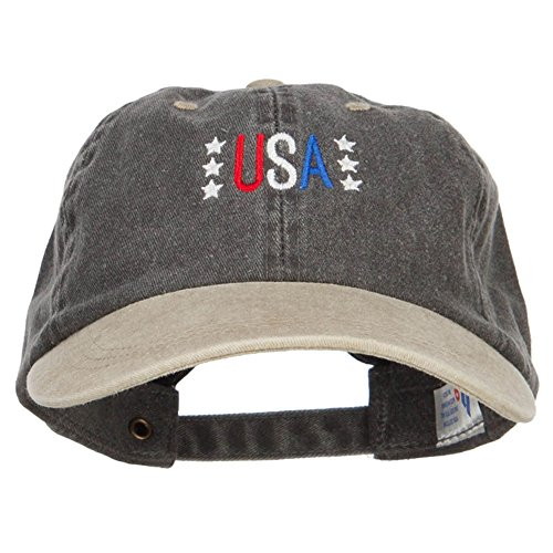 (E4hats USA Stars Embroidered Two Tone Washed Cap - Black Khaki OSFM)