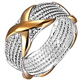 super1798 Women's X Silver Plated Golden Wedding Ring Fashion Jewelry - US 9