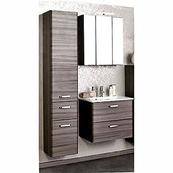 Badezimmermobel Set Eiche Dunkel Waschtisch Led Spiegelschrank