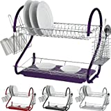 NEW 2 TIER CHROME PLATE DISH CUTLERY CUP DRAINER RACK DRIP TRAY PLATES HOLDER (PURPLE) by Prima