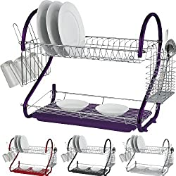 2 Tier Chrome Plate Dish, Cutlery & Cup Drainer