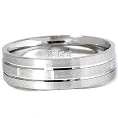 Mens 14k White Gold 6mm Brushed Comfort Fit Carved Wedding Band