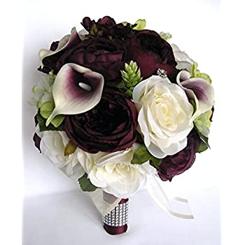 Amazon.com: Wedding bouquets Bridal Silk Flowers EGGPLANT GREEN ...