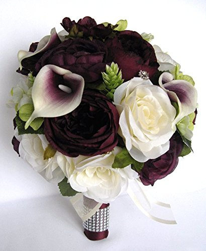 Amazon wedding bouquets bridal silk flowers eggplant green wedding bouquets bridal silk flowers eggplant green calla lily17 piece package wedding bouquet centerpiece flower arrangements mightylinksfo