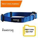 Dog Collar, Buy a Collar. Feed a Dog. The Pawsitive Co Durable Nylon Puppy and Dog Collar with Chrome Plated D Ring – Medium – Blue For Sale