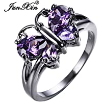 KassarinShop Cute Butterfly Purple Amethyst Ring Black Gold Wedding Band For Women Size 6-10 (6)